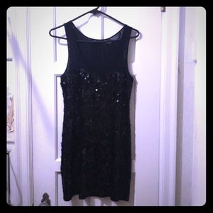 Sexy black sequin sheath dress